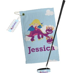 Girl Flying on a Dragon Golf Towel Gift Set (Personalized)