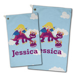 Girl Flying on a Dragon Golf Towel - Full Print w/ Name or Text