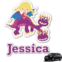 Girl Flying on a Dragon Graphic Car Decal (Personalized)