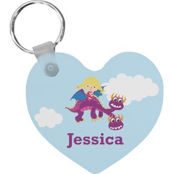 Girl Flying on a Dragon Heart Keychain (Personalized)