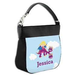 Girl Flying on a Dragon Hobo Purse w/ Genuine Leather Trim (Personalized)