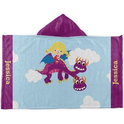 Girl Flying on a Dragon Kids Hooded Towel (Personalized)