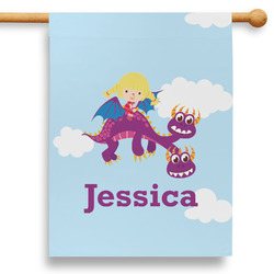 """Girl Flying on a Dragon 28"""" House Flag - Double Sided (Personalized)"""