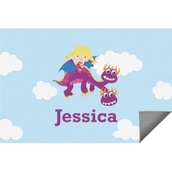 Girl Flying on a Dragon Indoor / Outdoor Rug (Personalized)