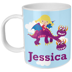 Girl Flying on a Dragon Plastic Kids Mug (Personalized)