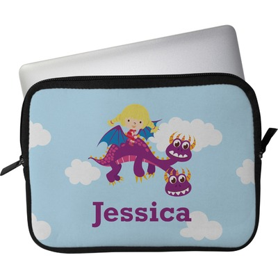 "Girl Flying on a Dragon Laptop Sleeve / Case - 12"" (Personalized)"