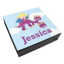 Girl Flying on a Dragon Leatherette Keepsake Box - 3 Sizes (Personalized)