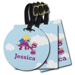 Girl Flying on a Dragon Plastic Luggage Tags (Personalized)