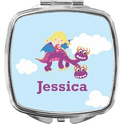Girl Flying on a Dragon Compact Makeup Mirror (Personalized)