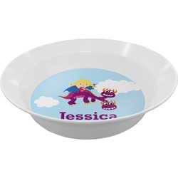 Girl Flying on a Dragon Melamine Bowl (Personalized)