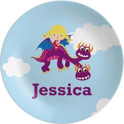 "Girl Flying on a Dragon 8"" Melamine Appetizer / Dessert Plate (Personalized)"