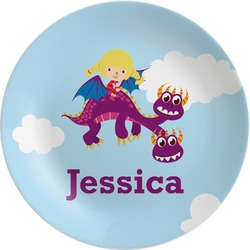 Girl Flying on a Dragon Melamine Plate (Personalized)