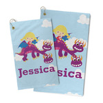 Girl Flying on a Dragon Microfiber Golf Towel (Personalized)