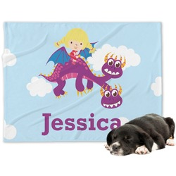 Girl Flying on a Dragon Minky Dog Blanket (Personalized)