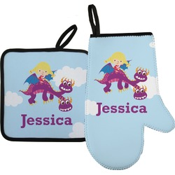 Girl Flying on a Dragon Oven Mitt & Pot Holder (Personalized)