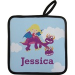 Girl Flying on a Dragon Pot Holder (Personalized)