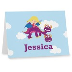 Girl Flying on a Dragon Notecards (Personalized)