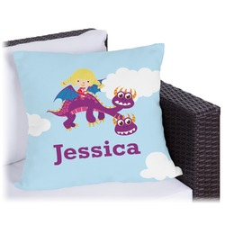 Girl Flying on a Dragon Outdoor Pillow (Personalized)