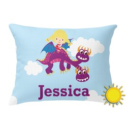 Girl Flying on a Dragon Outdoor Throw Pillow (Rectangular) (Personalized)