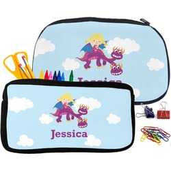 Girl Flying on a Dragon Pencil / School Supplies Bag (Personalized)