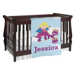 Girl Flying on a Dragon Baby Blanket (Personalized)
