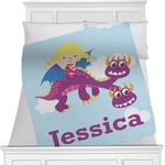 Girl Flying on a Dragon Minky Blanket (Personalized)