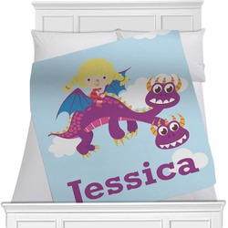 "Girl Flying on a Dragon Fleece Blanket - Twin / Full - 80""x60"" - Double Sided (Personalized)"