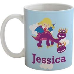 Girl Flying on a Dragon Coffee Mug (Personalized)