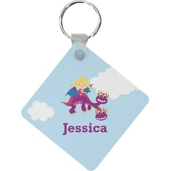 Girl Flying on a Dragon Diamond Key Chain (Personalized)