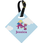 Girl Flying on a Dragon Diamond Luggage Tag (Personalized)