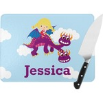 Girl Flying on a Dragon Rectangular Glass Cutting Board (Personalized)