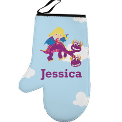 Girl Flying on a Dragon Left Oven Mitt (Personalized)