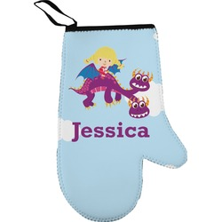 Girl Flying on a Dragon Oven Mitt (Personalized)
