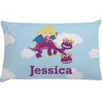 Girl Flying on a Dragon Pillow Case (Personalized)
