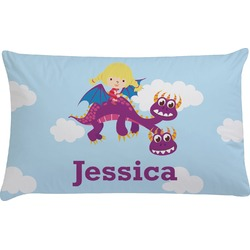 Girl Flying on a Dragon Pillow Case - King (Personalized)