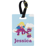 Girl Flying on a Dragon Rectangular Luggage Tag (Personalized)