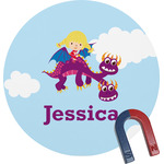 Girl Flying on a Dragon Round Fridge Magnet (Personalized)