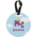 Girl Flying on a Dragon Round Luggage Tag (Personalized)