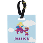 Girl Flying on a Dragon Square Luggage Tag (Personalized)