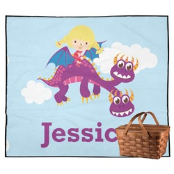 Girl Flying on a Dragon Outdoor Picnic Blanket (Personalized)