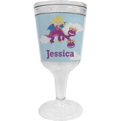 Girl Flying on a Dragon Wine Tumbler - 11 oz Plastic (Personalized)