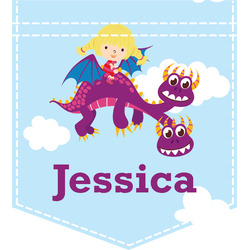 Girl Flying on a Dragon Iron On Faux Pocket (Personalized)