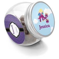 Girl Flying on a Dragon Puppy Treat Jar (Personalized)