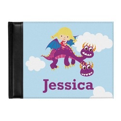 Girl Flying on a Dragon Genuine Leather Guest Book (Personalized)