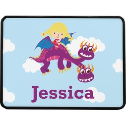 """Girl Flying on a Dragon Rectangular Trailer Hitch Cover - 1.25"""" (Personalized)"""