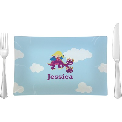 Girl Flying on a Dragon Rectangular Glass Lunch / Dinner Plate - Single or Set (Personalized)
