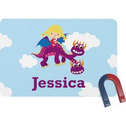 Girl Flying on a Dragon Rectangular Fridge Magnet (Personalized)