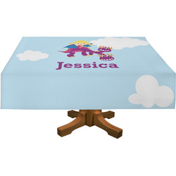 Girl Flying on a Dragon Rectangle Tablecloth (Personalized)