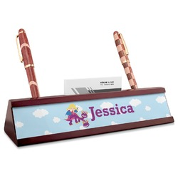 Girl Flying on a Dragon Red Mahogany Nameplate with Business Card Holder (Personalized)