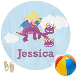 Girl Flying on a Dragon Round Beach Towel (Personalized)